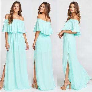 NWT Show Me Your Mumu Aqua Chiffon Maxi Dress